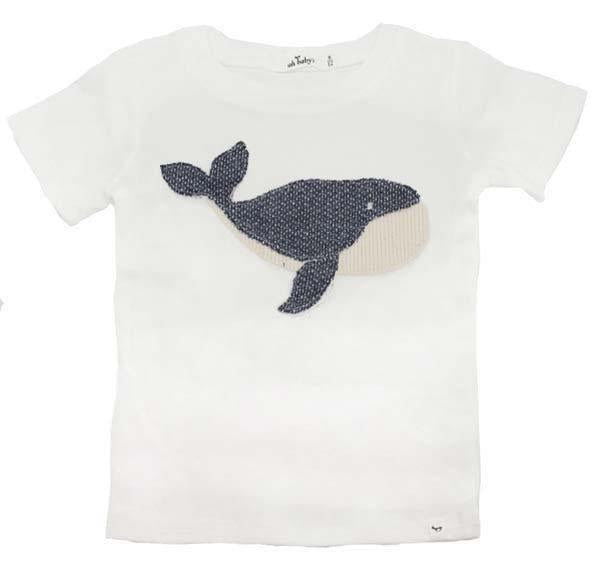 oh baby! Baby Rib Moby Whale Indigo Short Sleeve Tee - Cream - oh baby!