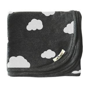 oh baby! Screen Printed Layette Blanket - Clouds - Charcoal
