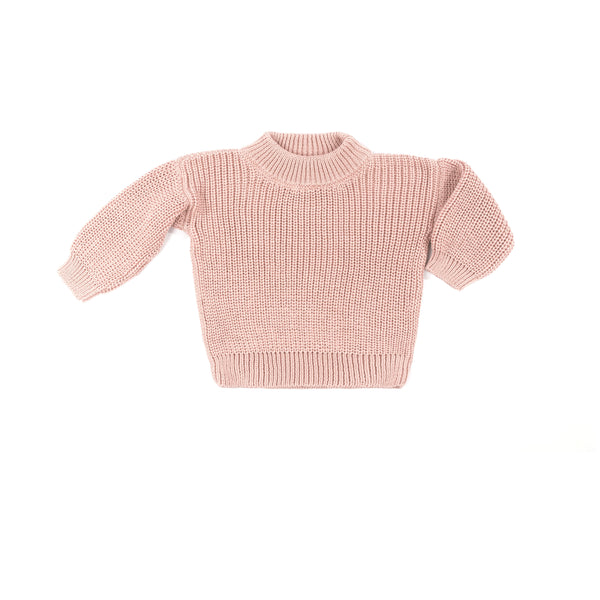 Wild Wawa Crew Neck Pullover Knitted Sweater - Old Rose