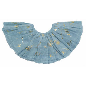 oh baby! Fairy Skirt - Scattered Wildflowers in Gold Foil - Misty Blue