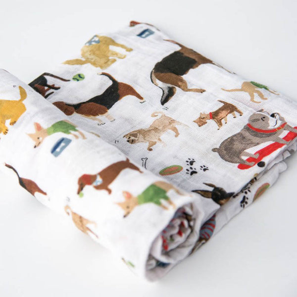 little unicorn Cotton Swaddle Blanket Single - Woof - oh baby!