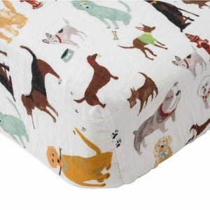 little unicorn Cotton Muslin Crib Sheet - Woof - oh baby!
