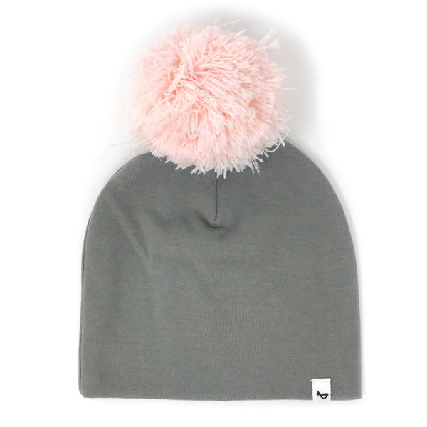 oh baby! Snap Yarn Pom Pale Pink - Gray