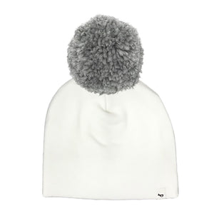 oh baby! Snap Yarn Pom Hat Gray - Cream