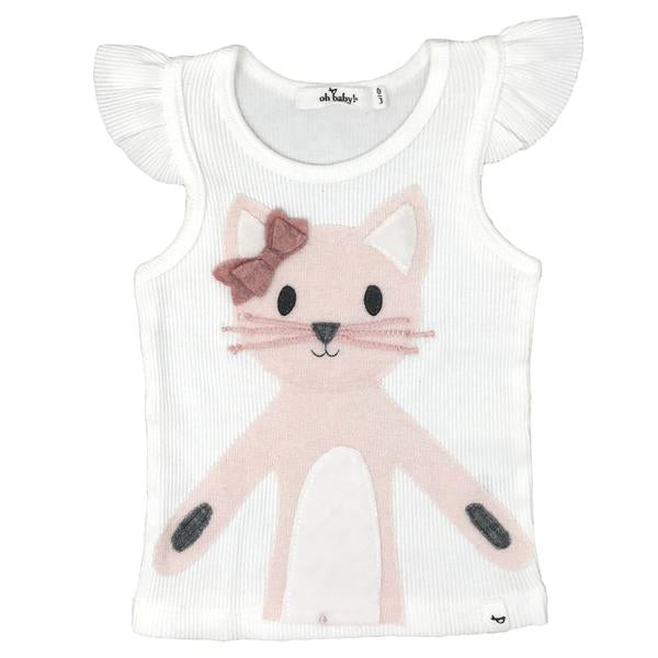 oh baby! Flutter Tank - Zoey Kitty Pink - Cream