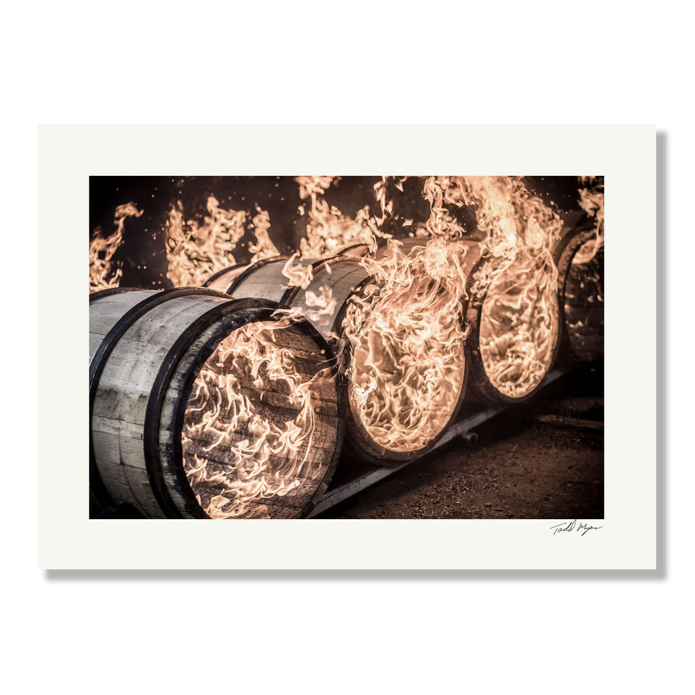 Whiskey Barrels with Flames, Tadd Myers Photography