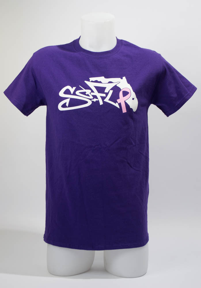 Short Sleeve Breast Cancer Purple