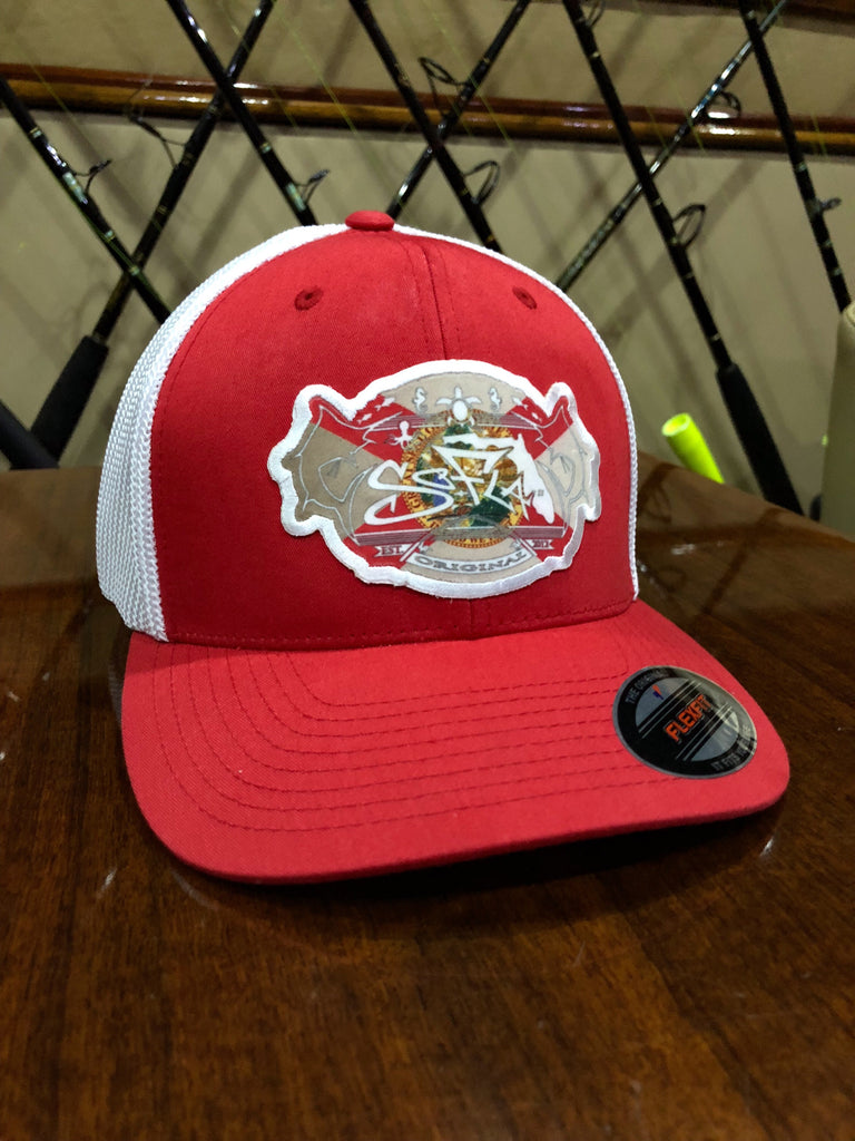 Red and White Heritage flex fit trucker