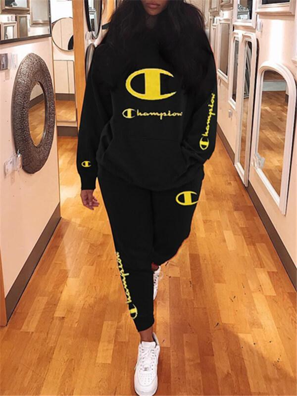 Slogan Embroidery Hoodie & Pants Set-L