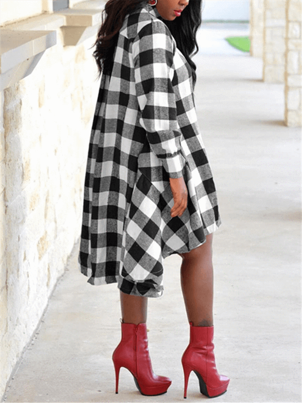 Gingham Shirt Dress (1428842315893)