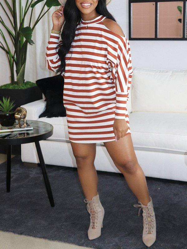 Stripe Cold-Shoulder Dress