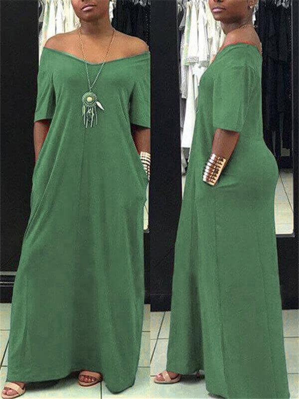 Solid Color Maxi Dress (1382470090869)