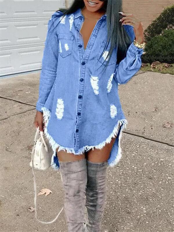 Destroyed Button-Down Denim Shirt Dress