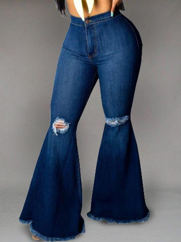Ripped-Knee Flared Jeans