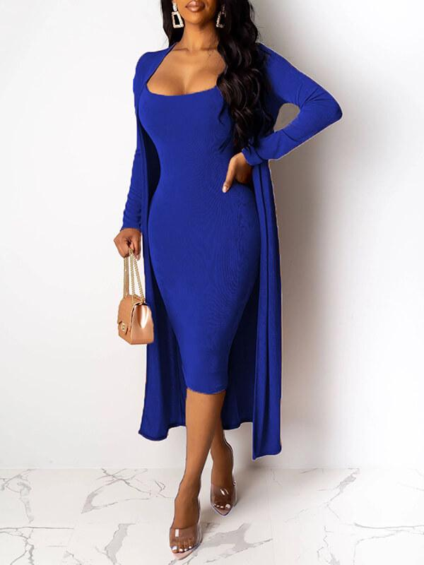 Solid Cami Dress & Cardigan Set