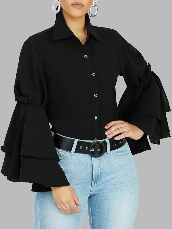 Tiered Bell-Sleeve Shirt