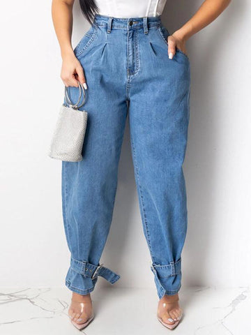 Solid Tied-Cuff Pants