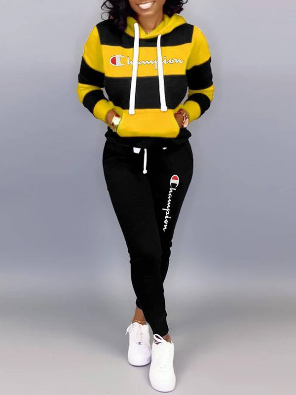 Slogan Colorblock Hoodie & Pants Set