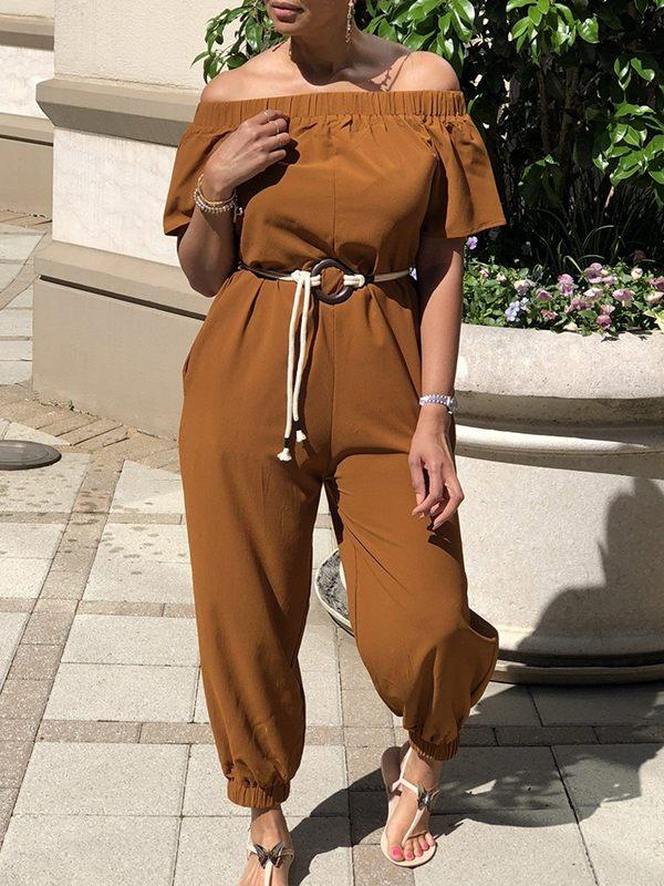 Solid Off-Shoulder Jumpsuit With Belt