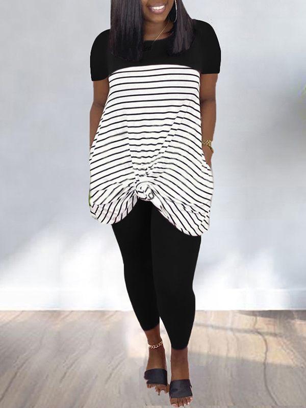 Stripe-Combo Top & Pants Set