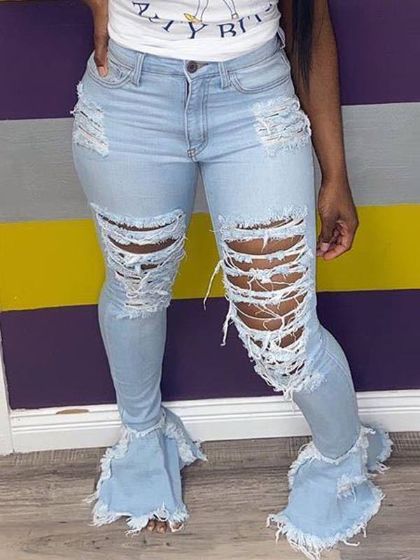 Ripped Flared Cuff Jeans