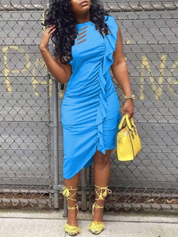 Ripped Frilled Asymmetric Dress