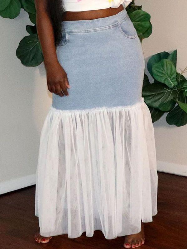 Sheer Combo Denim Skirt