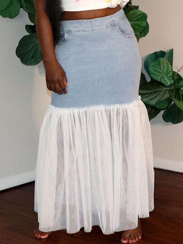 Button-Down Denim Mermaid Skirt
