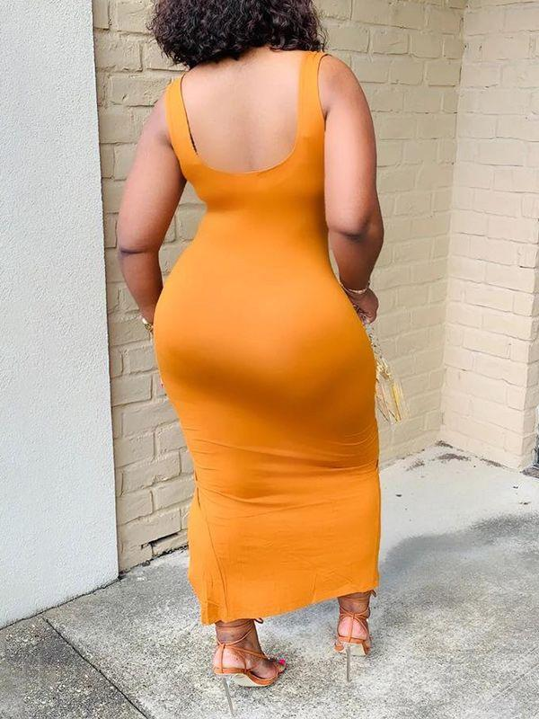 Solid Slit Sleeveless Dress