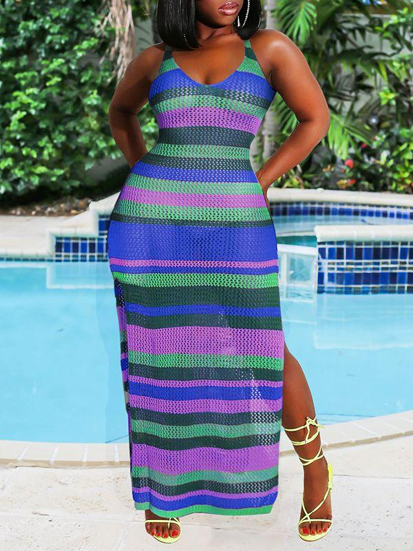 Stripe Side-Slit Mesh Cover-Up