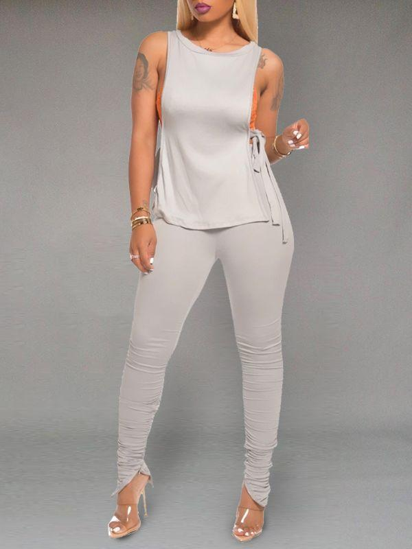 Solid Tied Top & Ruched Pants Set