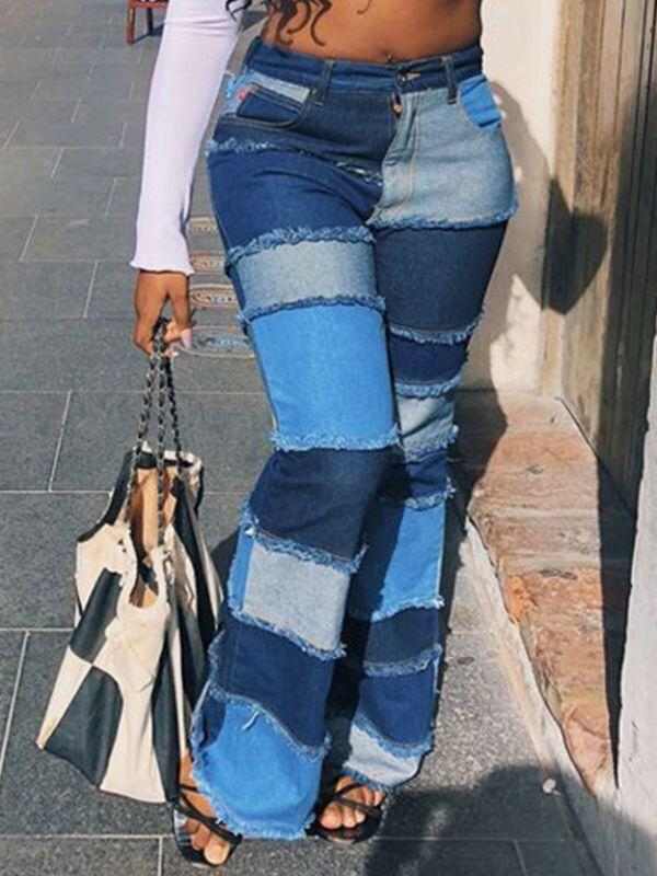 Patchwork Flared Jeans