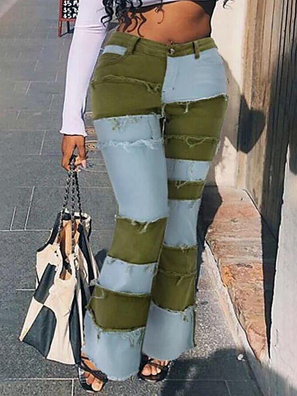 Patchwork Flared-Leg Jeans