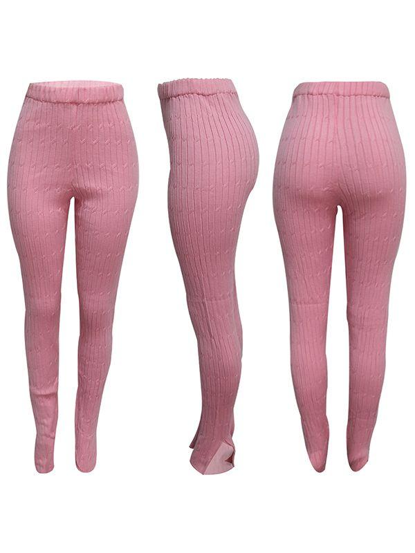 Slit Cuff Ribbed Leggings