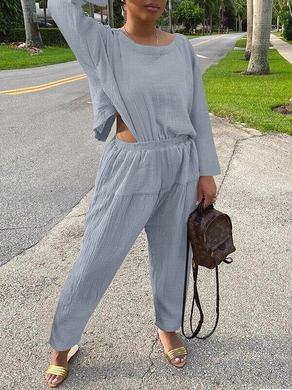 Solid Backless Jumpsuit