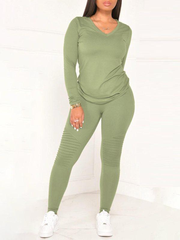 Solid V-Neck Top & Pants Set