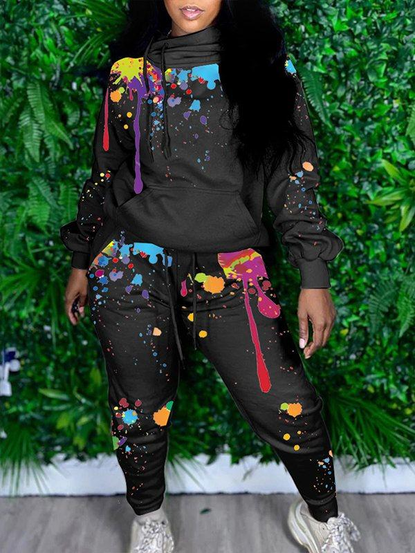 Paint Splatter Hoodie & Jogger Pants Set