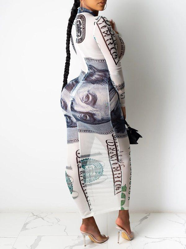 Dollar Printed Sheer Dress