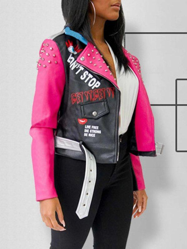 Colorblock-Combo Faux-Leather Jacket