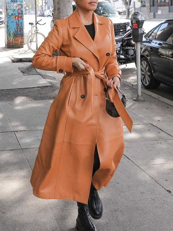 Faux-Leather Trench Coat
