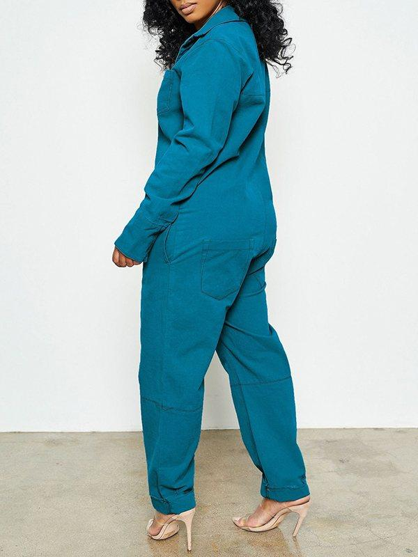 Solid Button-Front Jumpsuit
