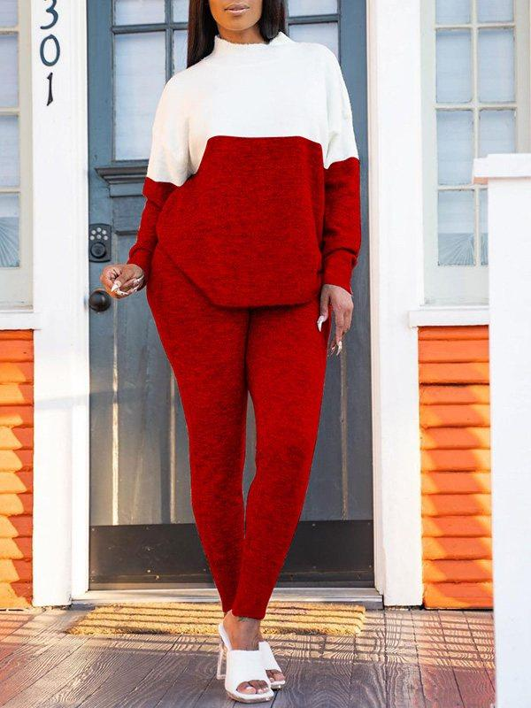 Two-Tone Mock-Neck Top & Pants Set
