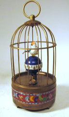 Animated Alarm Cloisonne Bird Cage Clock