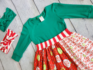 "The Cat In The Hat Knows A Lot About Christmas"" 3/4 Sleeve Dress"