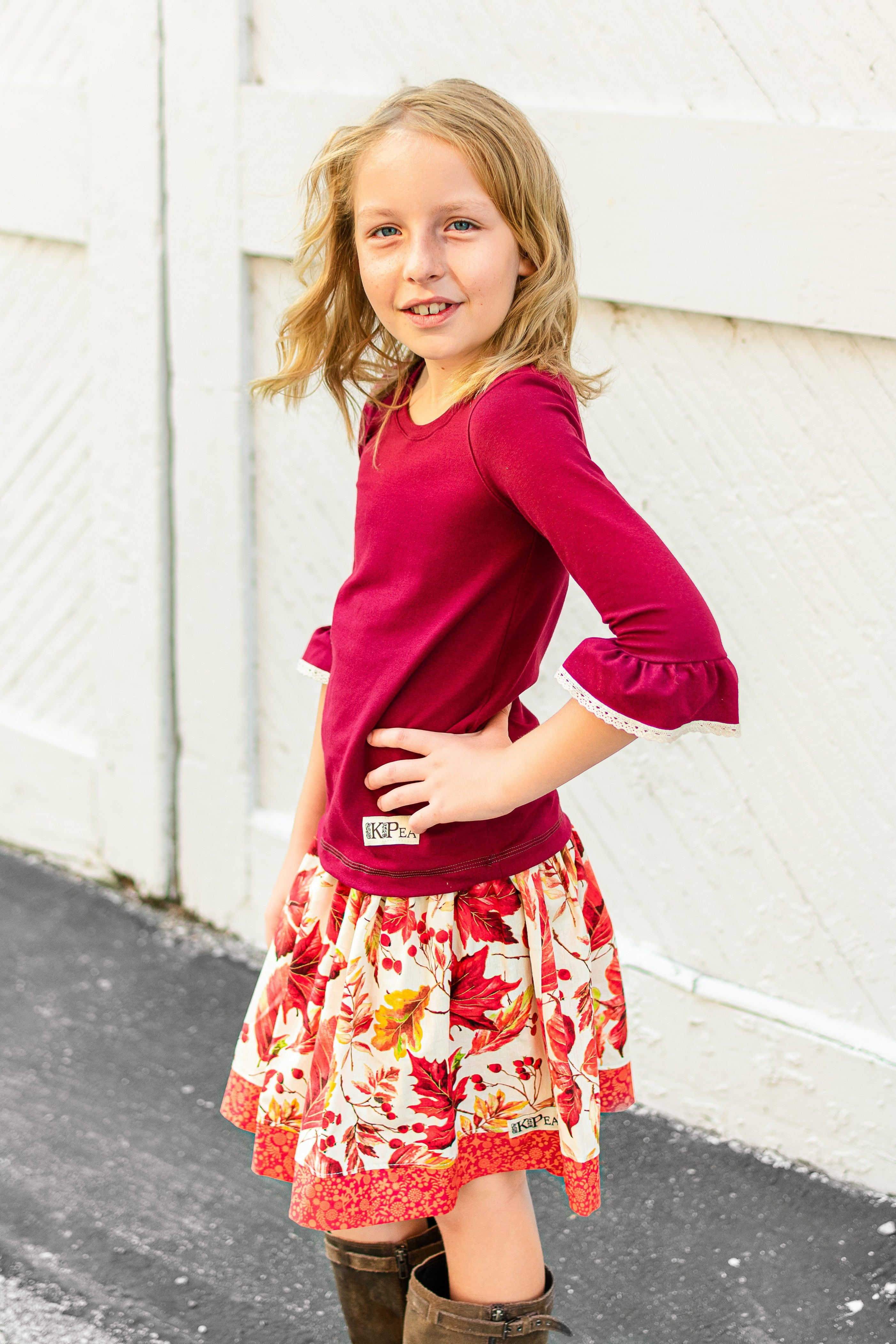 "Cranberry"" Lace Bell Top"