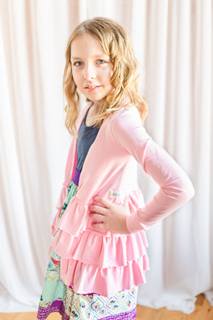 Strawberry Pink Triple Ruffle Cardigan (ships in 2 weeks)