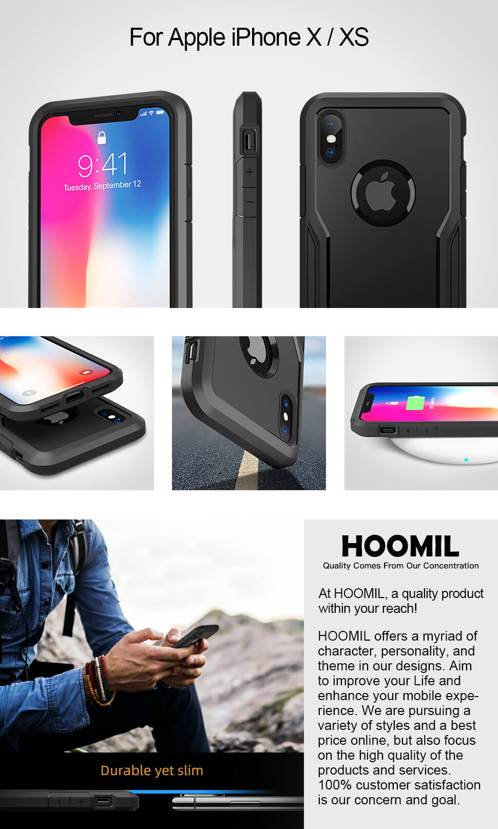 HOOMIL Compatible with iPhone X Case, iPhone XS Case, Shock Absorption Phone Cover for Apple iPhone X/XS Smartphone (5.8 inches) - Black
