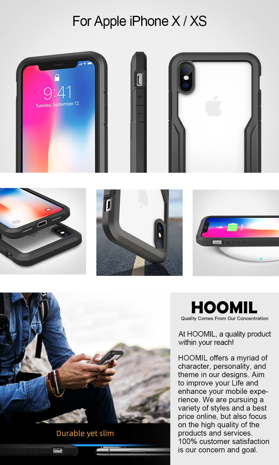HOOMIL Compatible with iPhone X Case, iPhone XS Case, Shock Absorption Phone Cover for Apple iPhone X/XS Smartphone (5.8 inches) - Semi Transparent