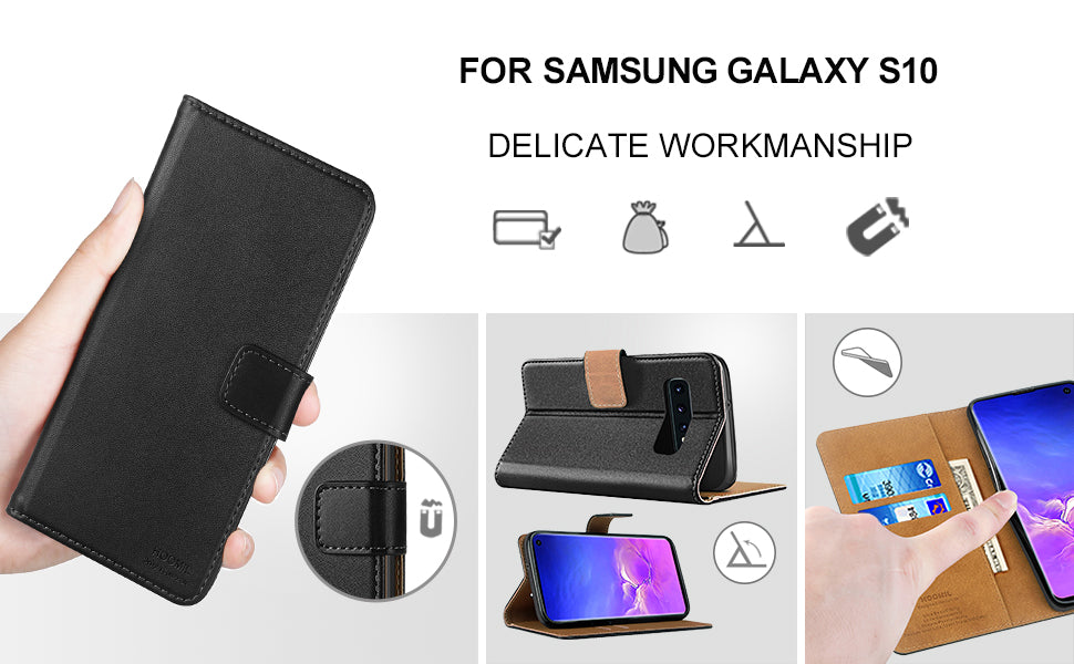 Samsung Galaxy S10 Case,Premium Leather Flip Wallet Phone Case Cover