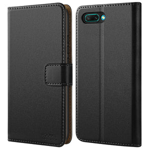 Huawei Honor 10 Case,High Quality Wallet Business Phone Case Cover (Black)